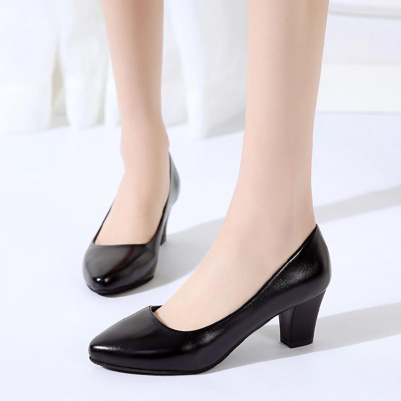 6efc28809f71c Dress Shoes Elegant Ladies Pumps Mid Heel Female Pumps Pointed Toe Black Heels  Fashion Slip On Shallow Office Women Pumps Italian Shoes Summer Shoes From  ...