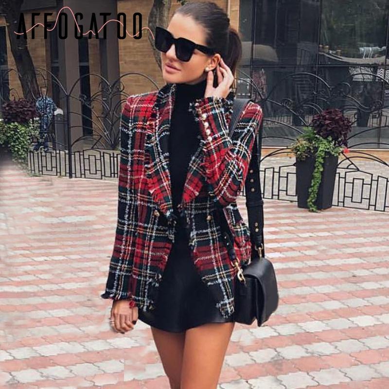 Compre Affogatoo Borla De Lana Elegante Tweed Rojo Blazer Mujer 2018  Turndown Collar Casual A Cuadros Blazer Moda Blaser Abrigo De Invierno  Femenino A ... ae6aecbdc5490