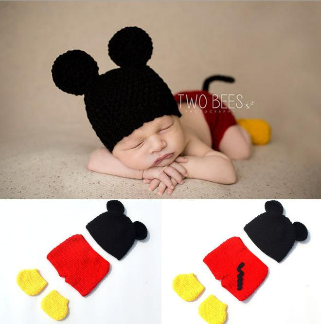 a61ec8272 2019 Crochet Baby Boy Mickey Costume Knitted Newborn Baby Cartoon ...