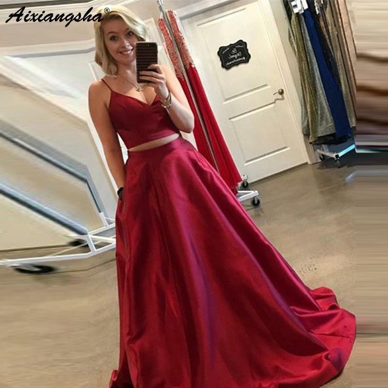 ea259d144ca0 Acquista New Listed 2019 Due Pezzi Lungo Abito Da Sera Di Promenade Ball  Gown Con Scollo A V Spaghetti Cinghie Rosso Scuro Raso Lungo Abiti Da Ballo  Con ...