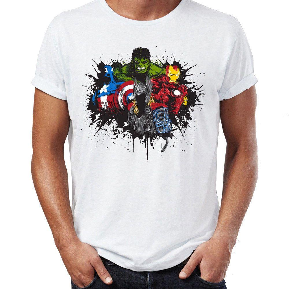 2dd1b224659a6 Men s T Shirt Splatter Art Avengers Hulk Thor Artsy Awesome Artwork Drawing  Funny free shipping Unisex Casual Tshirt top