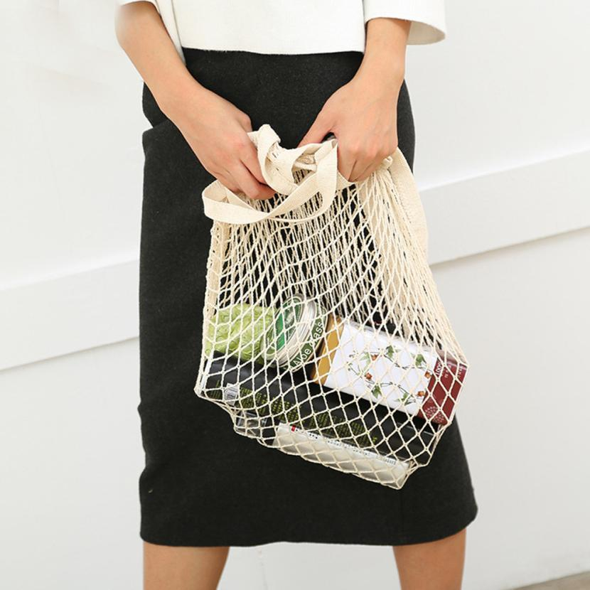 7400561b76f5 Net cloth Reusable Fruit Vegetable Shopping Bag Casual String Grocery  Shopper Cotton Tote Mesh Woven Net Shoulder Bag Women D19011204