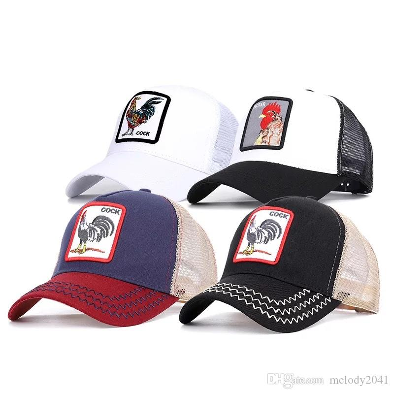 04875d57a71ab 2019 Spring Summer Baseball Net Cap Cock Animal Embroidery Baseball Hats  Men And Women Fashion Mesh Ball Hat Custom Fitted Hats Design Your Own Hat  From ...