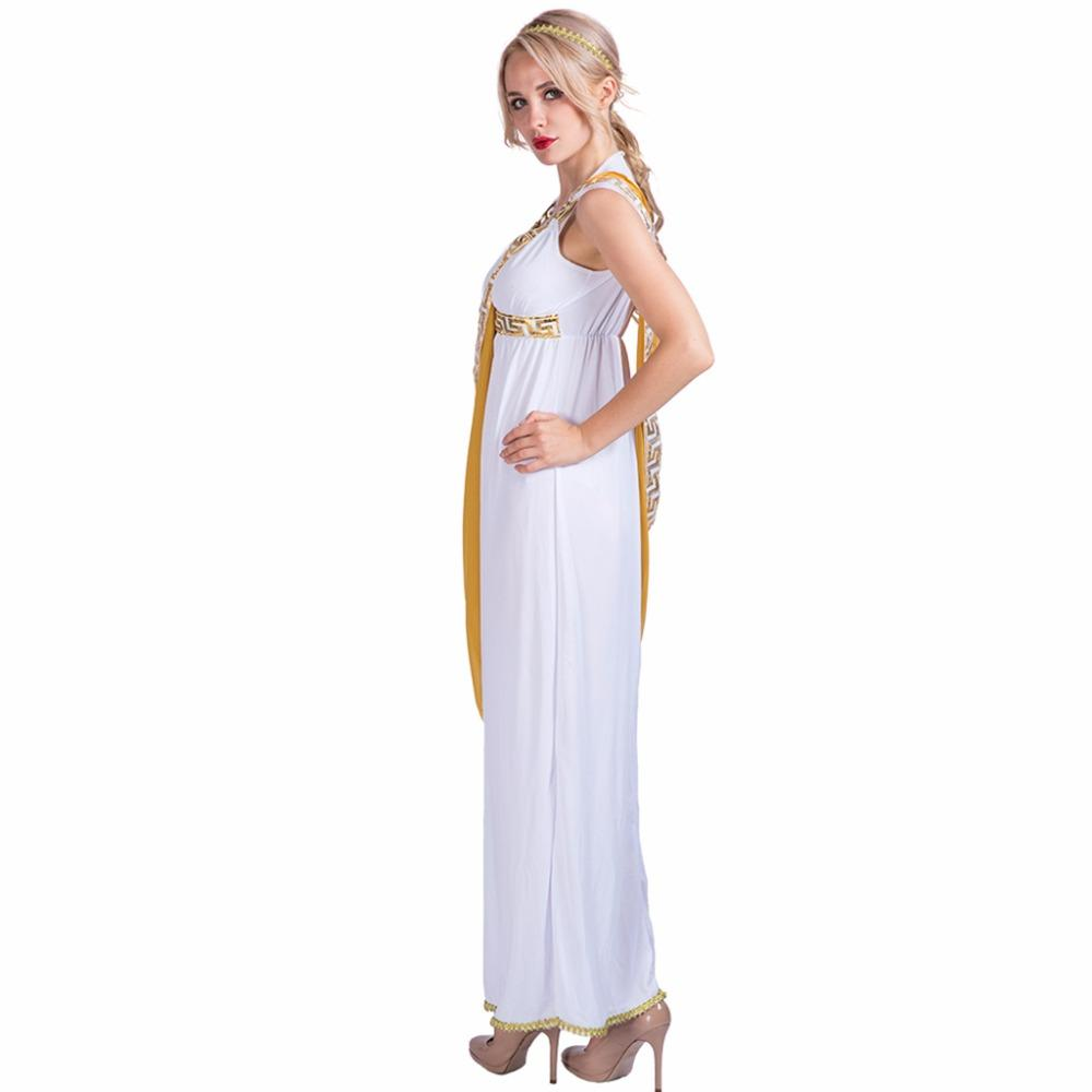 2b77ec148aa Gyptian Costume Women Sexy Greek Goddess Roman Lady Egyptian Costume  Cosplay White Jumpsuit Robe Fancy Dress For Female Adult Halloween C..