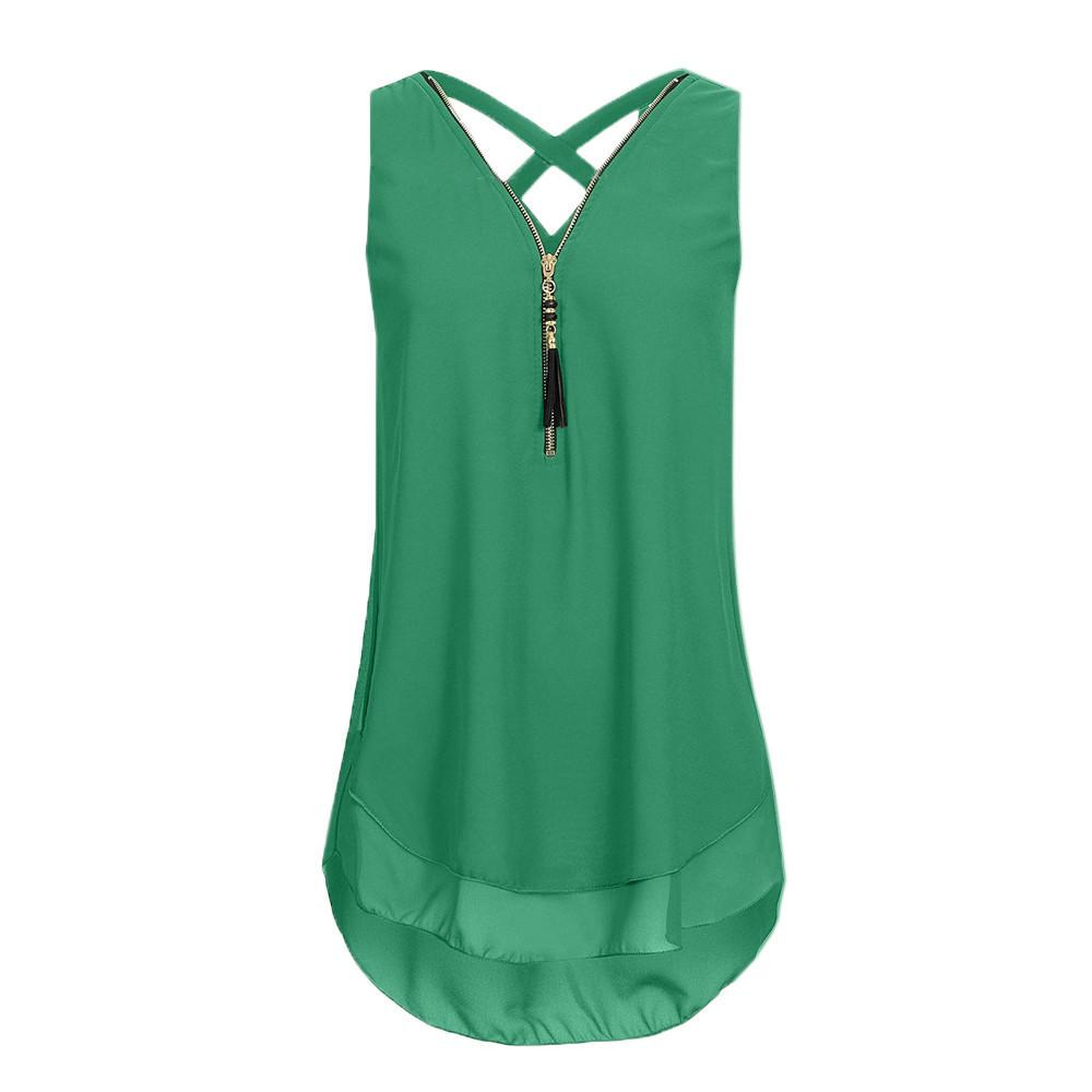 Women Top Loose Sleeveless Tank Top Cross Back Hem Layed Zipper V-neck Shirts Ladies Summer Tops Chemisiers Et Blusas Femme