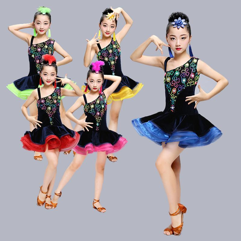 Sexy lace Dance Costumes Competition Dresses Dress Salsa Dancewear Tango Clothes Girls ballroom dancing dresses for kids latin