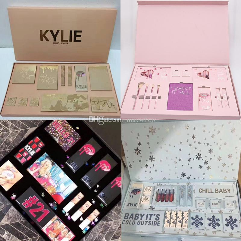 d3b228a2f7 Drop Ship Kylie Jenner Christmas 21st Birthday Send Me More Nudes Collection  Makeup Set Take Me On Vacation I Want It All Big Box Professional Makeup  Brush ...