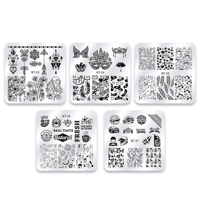 10 Pcs Halloween Christmas Nail Stamping Plates Set Square Flower Animal  Pattern Nail Art Stamp Template Stencils Tool Kits 10 Pcs Halloween