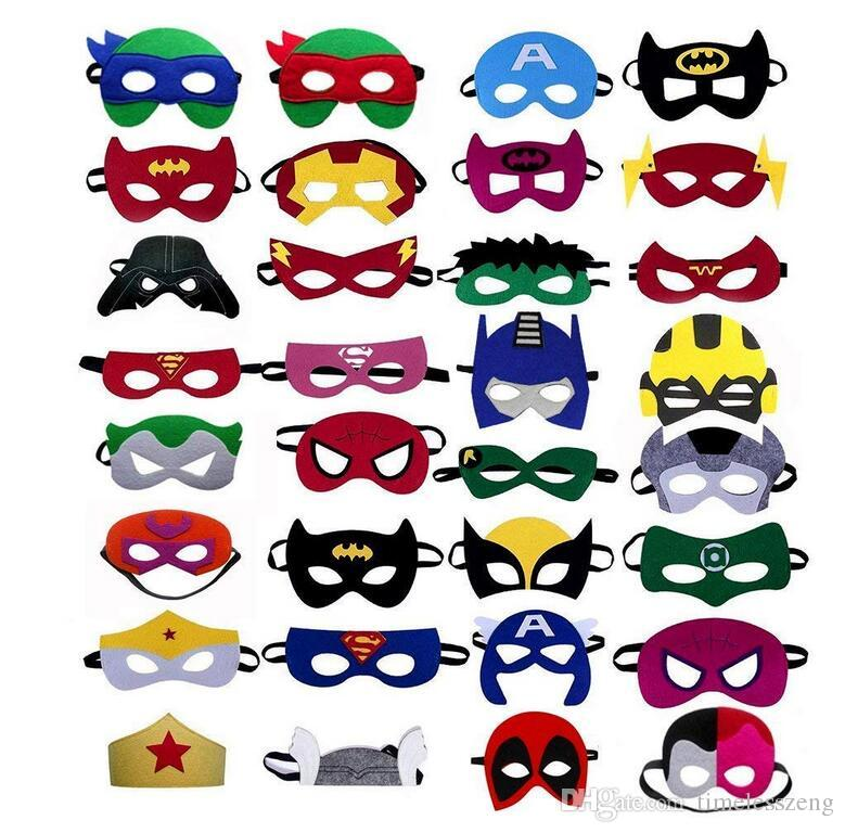25997d96b4 260 Styles Superhero Mask Cartoon Superhero Felt Dacron Rmasks Fashion  Goggles Felt Toy Halloween Christmas Cosplay Children Party Masks Masks For  Sale ...