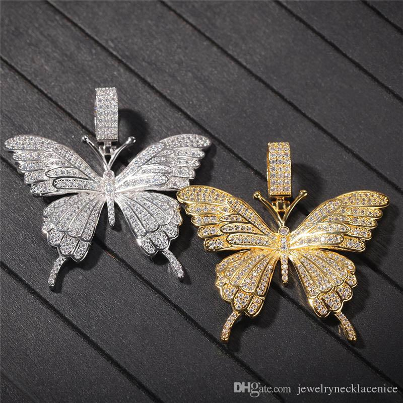 Europe and America Hotsale Men Hip Hop Necklace Yellow White Gold Plated Full CZ Butterfly Pendant Necklace for Men Women Nice Gift