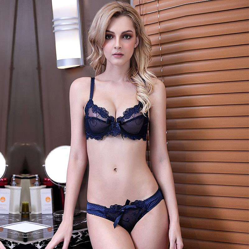 a487f195a8e 2019 Ultra Thin Transparent Bra Sets Fashion Lace Embroidery Bras Panties  Sets Plus Size Lingerie Women Set C D Cup Black White From Redbud06