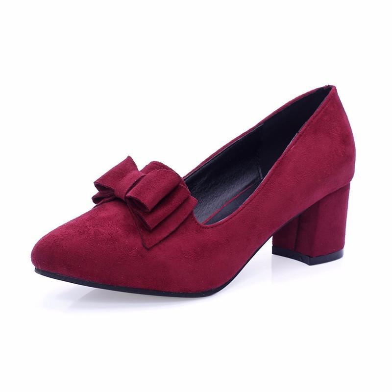 298576418bf Dress Women Pumps Spring Women High Heels Shoes Elegant Sweet Bow Thick  Heeled Shallow Point Flock Suede Single Shoes Red Shoes Mens Slippers From  Deals99