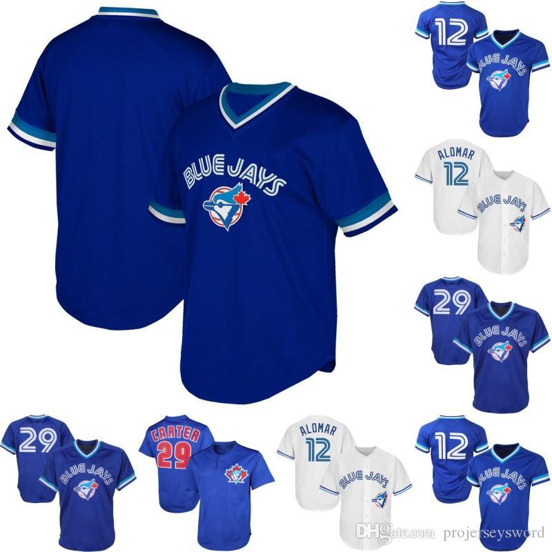 the latest dad72 8e656 Toronto 12 Roberto Alomar 29 Joe Carter 1993 Joe Carter Mens Womens Youth  Blue Jays Retro Baseball Jerseys Free Shipping
