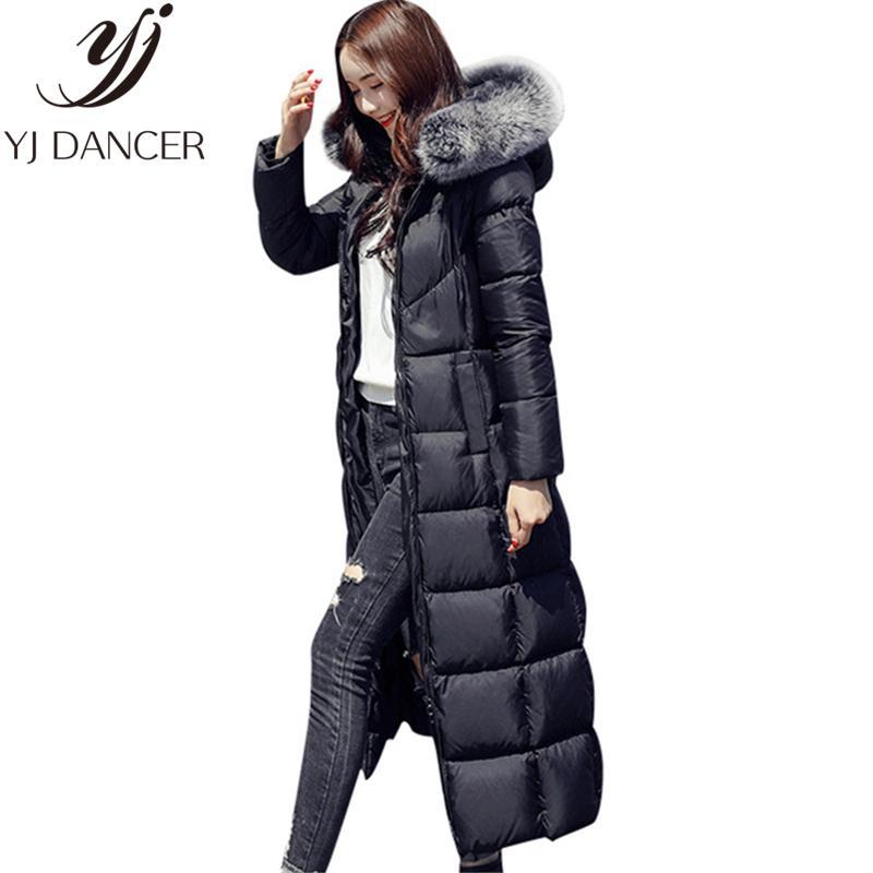 ad68f026e X-Long Down jacket 2018 Winter High Quality Oversized New Slim Coats  Thicken Hooded Big Fur Collar Jacket Women Warm Parkas L322