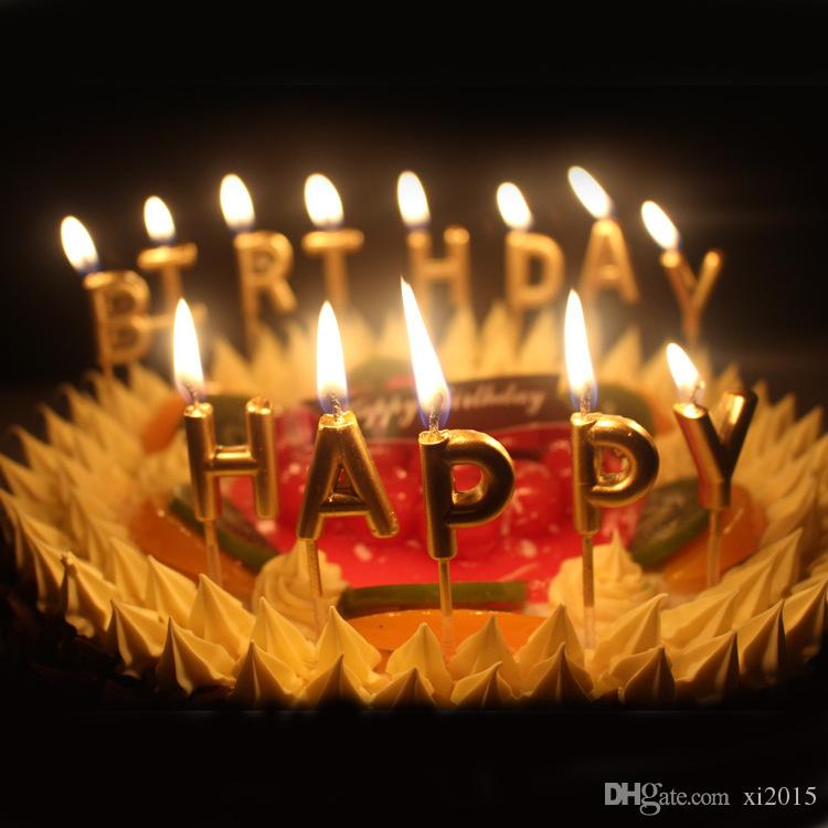 Gold Sliver Happy Birthday Letter Smokeless Candles Cake Decoration Party Supplies Lovely W9288 Soccer Spiderman