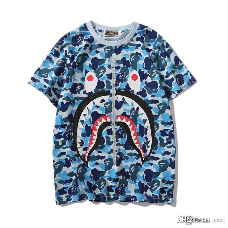 19FW New Lover Green Pink Blue Camo Zipper Shark Print T-Shirts Men Women Personality Short Sleeve T-shirts Sizes M-2XL