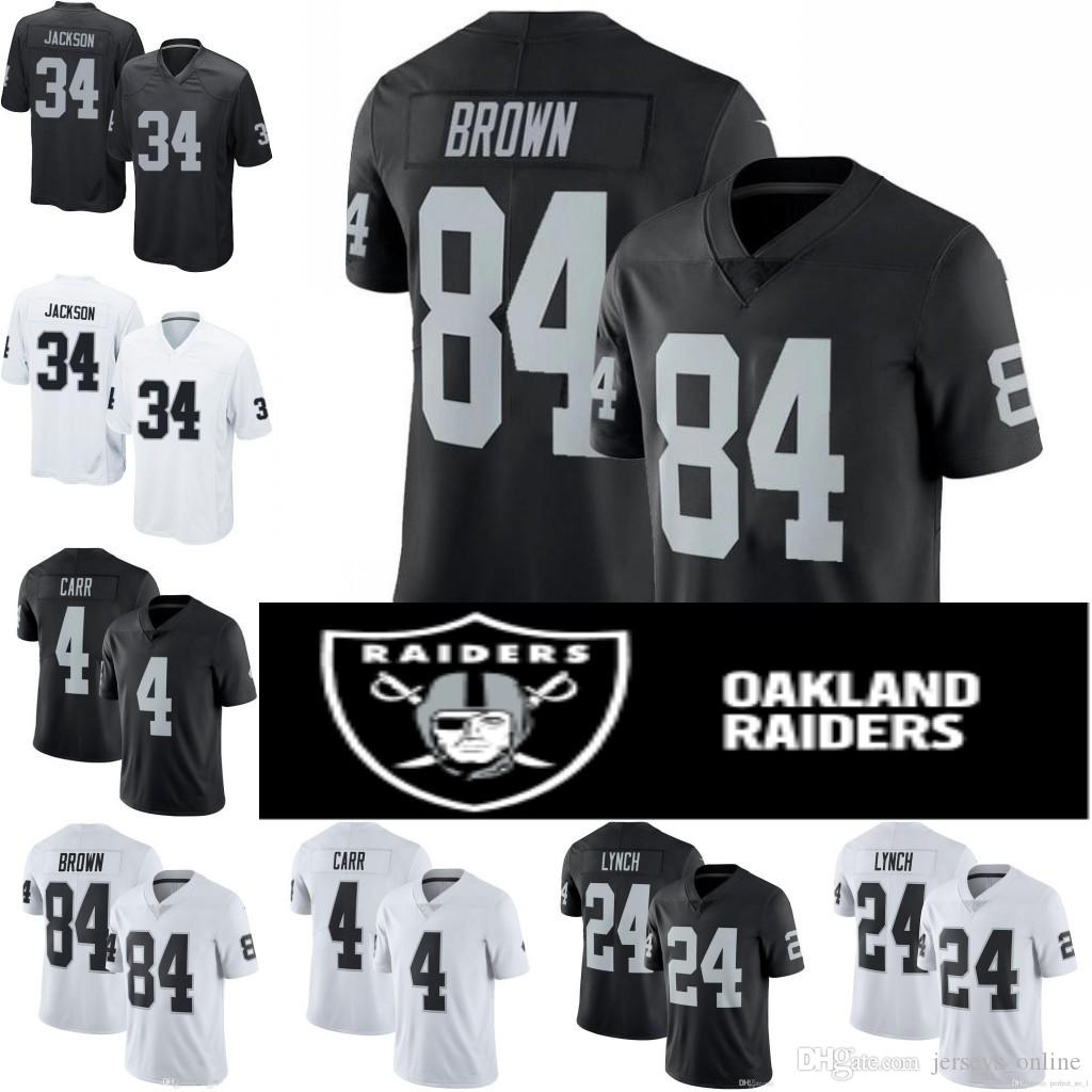 new product f0bdb eaf2c 84 Antonio Brown 4 Derek Carr Oakland Stitched Jersey 24 Marshawn Lynch 12  Ken Stabler 34 Bo Jackson 82 Jordy Nelson Raiders 01