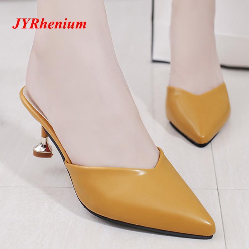 26c1594bad6 Shoes JYRhenium 2019 New Design Pointed Toe Women Pumps Middle Heels Slip  On Kitten Heel Chic Women Mules Elegant Office Women Designer Shoes High  Heel ...