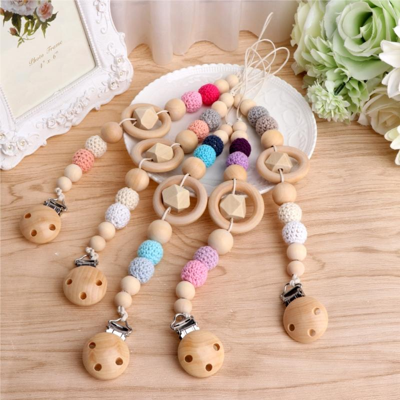 Anti Drop Solid Wood Hook Line Baby Pacifier Clip Handmade Wooden Beads Wool Ball To Appease Molar Nipple Chain