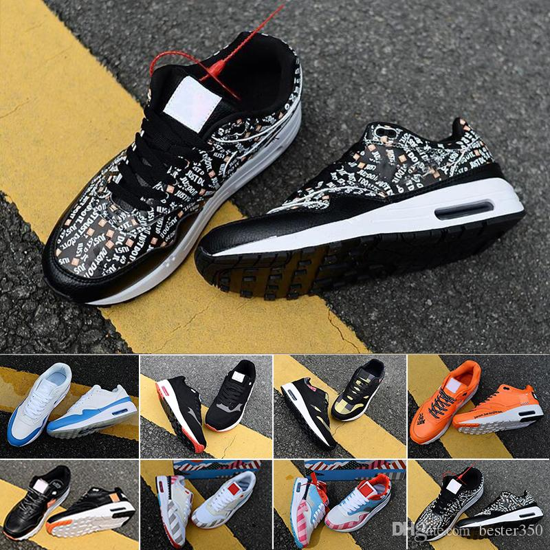 nike air max 87 airmax DLX ATMOS 1 Parra Sean Wotherspoon Air Azul Mens Running Shoes animal de carga 1s clássico Leopard Atlético Mulheres Sneakers Trainers CJ65