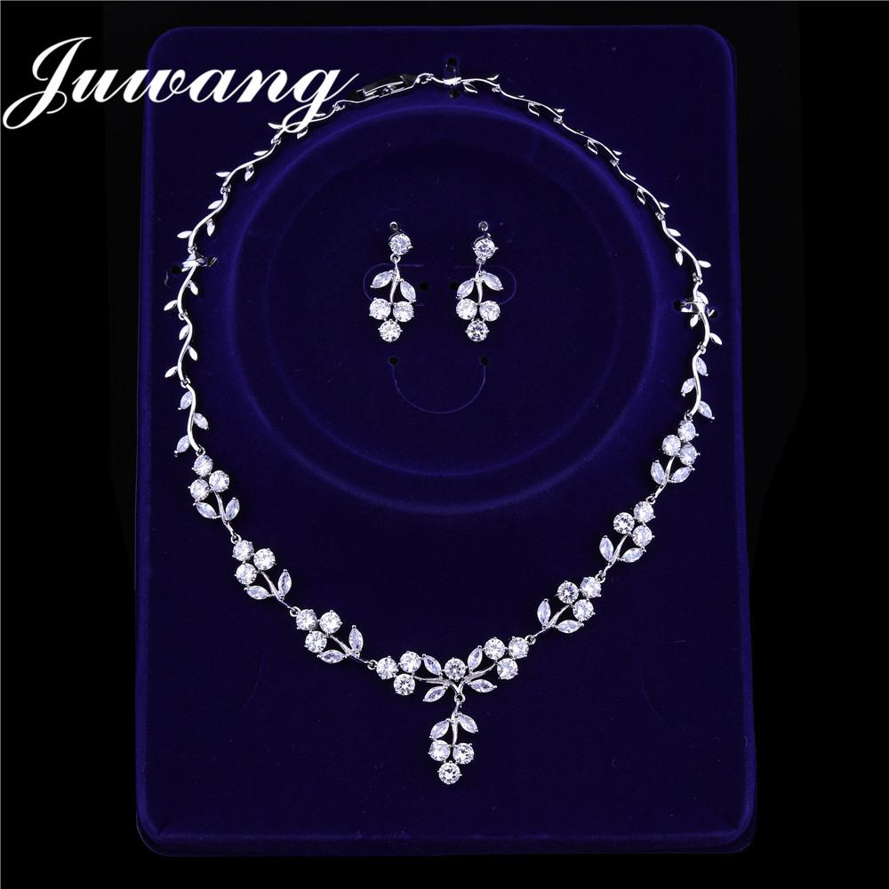1d9f44d4e JUWANG Brand Simple Clear Flower Zirconia Earring Necklace Set for Woman Wedding  Bridal Jewelry Set Dress Accessories Gift Online with $36.4/Set on ...