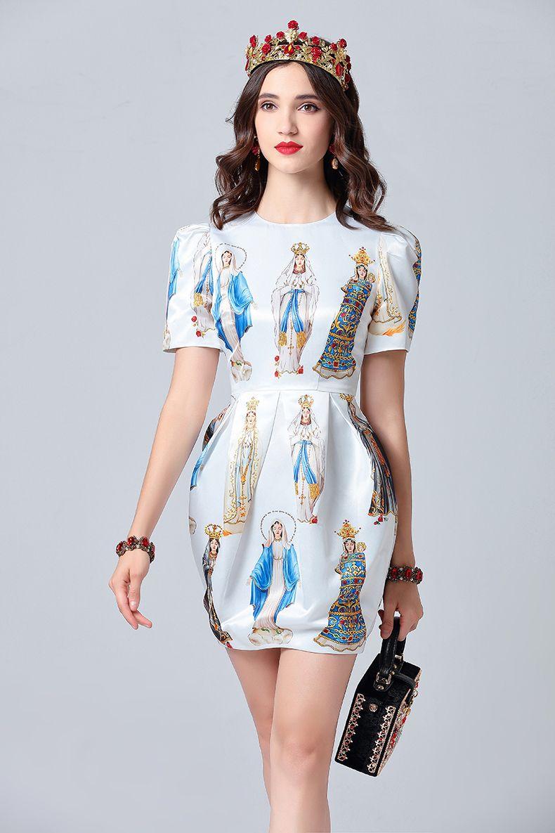 84cc730dd 2019 Fashion Designer Summer Dress Women s Short Sleeve Noble Angel Printed  Elegant White Dress vestidos Female Free Shipping