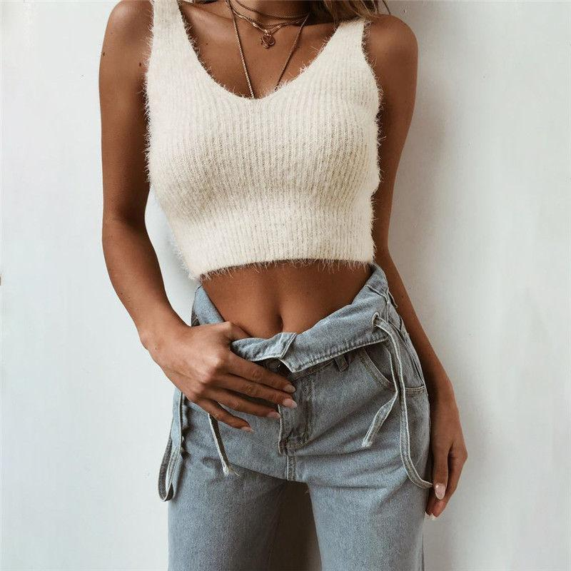 61fbe2775e Women Sleeveless V-Neck Tanks Tops Backless Casual Crop Top Sleeveless  Knitted Fashion Tanks Online with  36.46 Piece on Bibei08 s Store