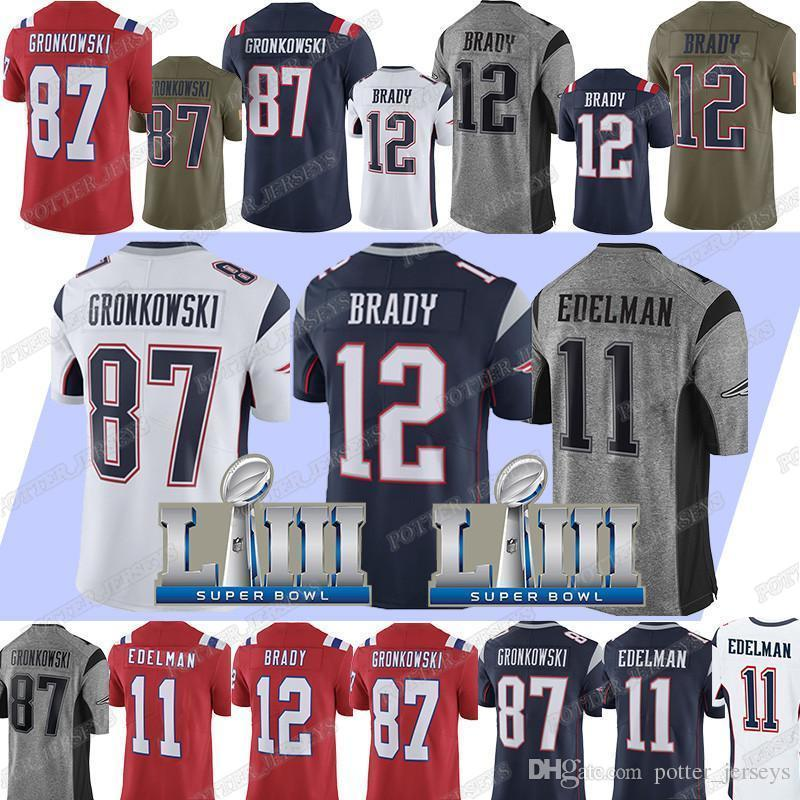 info for 89d52 7fbcf 12 Tom Brady New Patriot Jersey 87 Rob Gronkowski Jerseys 11 Julian Edelman  Super Bowl Football Jerseys