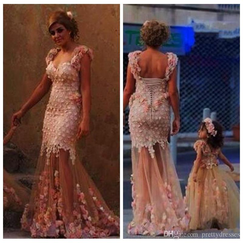 Off Shoulder Mermaid Women Prom Dresses With 3D Flowers Adorned Mother And Daughter Best Matching Party Gowns Flower Girls Dress Tulle