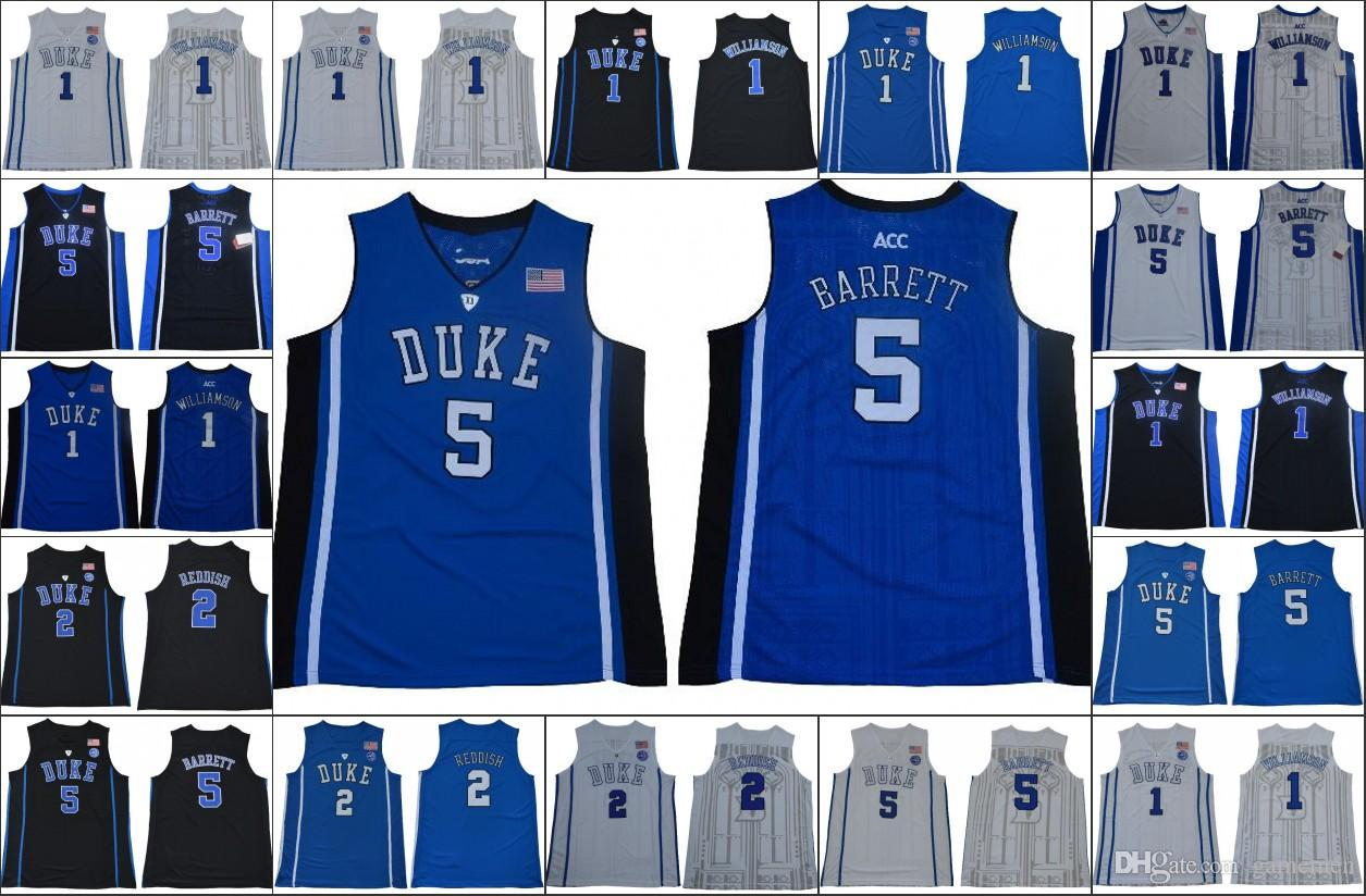 59f320e50e77 2019 NCAA Duke Blue Devils Jersey 1 Zion Williamson 35 Bagley III 5 RJ  Barrett 2 Reddish Royal Black White Men College Basketball Stitched Jersey  From ...