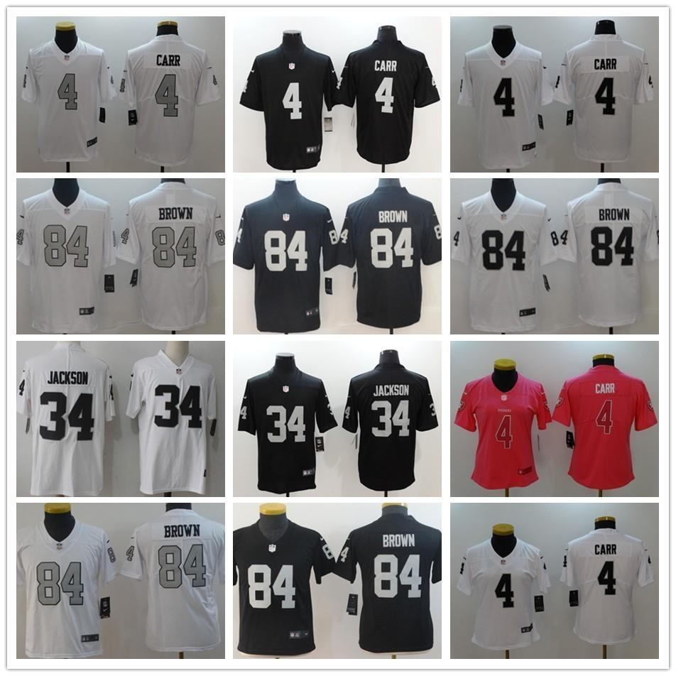 separation shoes 06efd 59c49 2019 New Oakland #4 Derek Carr Jersey 34 Bo Jackson 84 Antonio Brown Men  Women Kids Youth Raiders Stitched Black White Football Jerseys