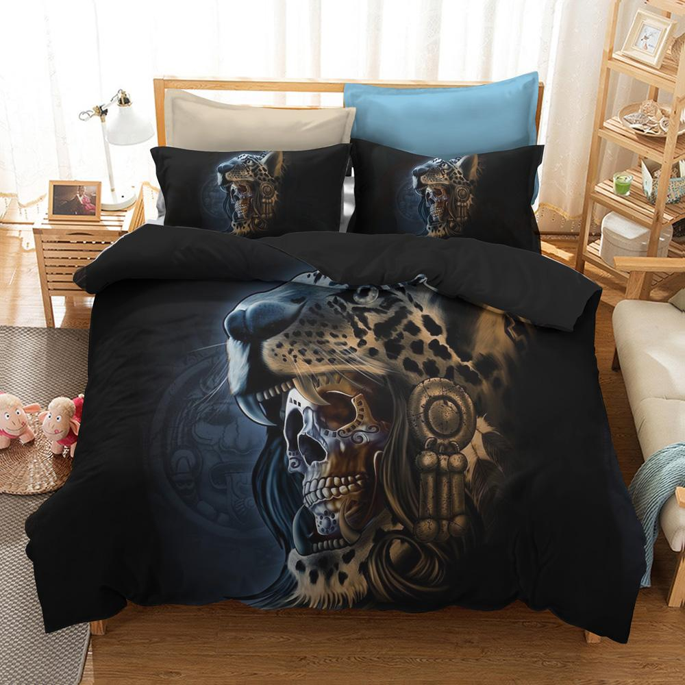 0c7bf2b5f8 3D Tiger Bedding Set Skull Print Duvet Cover Set Lifelike Bedclothes With  Pillowcase Single Double King Twin Black Home Textiles Green Duvet Covers  Fashion ...