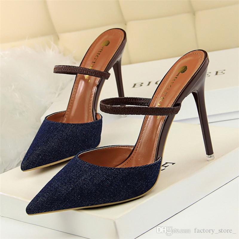 53a4c201f01b0 Großhandel Black Heels Mules Schuhe Damenschuhe Frau Stiletto Sexy High  Heels Italienische Schuhe Damen Designer High Heels Damenschuhe Femme  Ayakkabi Von ...