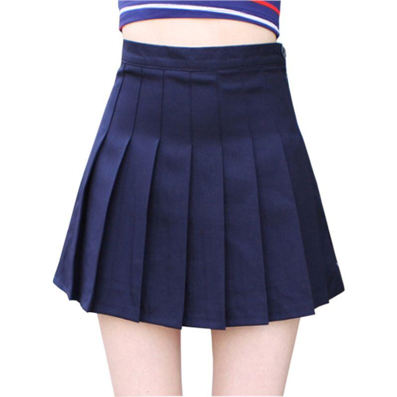 fe52e6907 Estudiantes coreanos uniformes de clase de ropa para niña de verano azul  marino falda plisada escuela japonesa sólido plisado mini falda corta