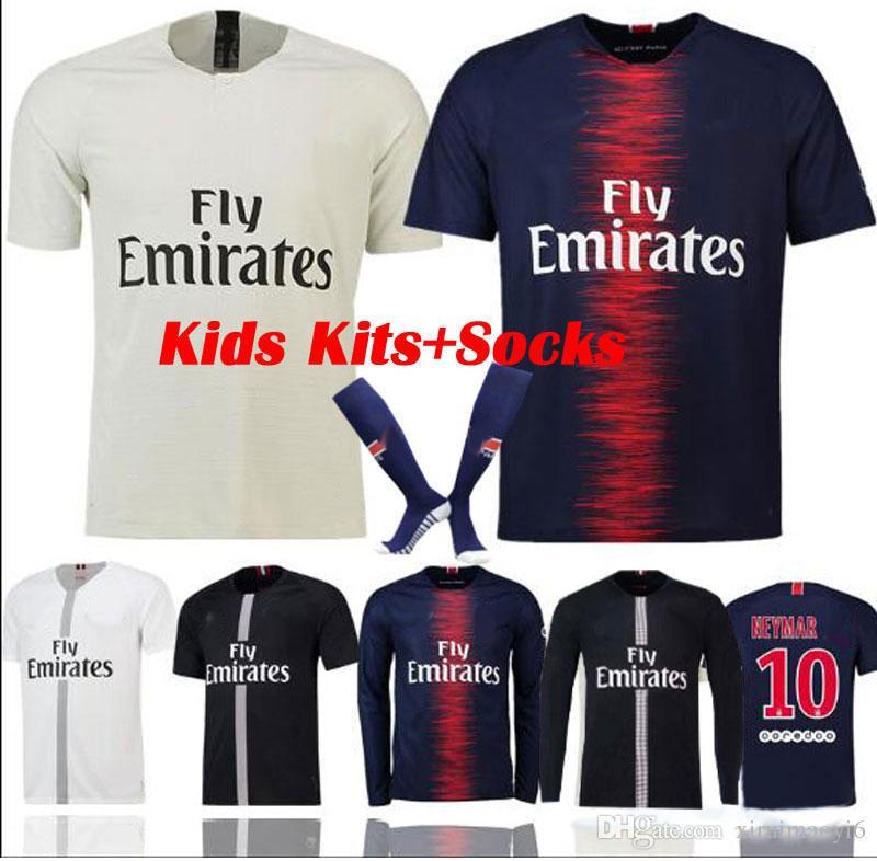 5409f6454 Compre 2018 19 PSG Manga Longa Crianças Jersey De Futebol Paris MBAPPE  CAVANI Saint Germain Total DANI ALVES Terceiro Afastado 2018 2019 Meninos  Camisa De ...