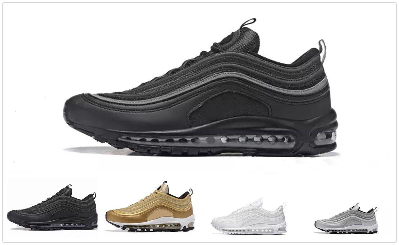 the latest e22d6 1cd82 Acheter Nike Air Max Airmax 97 Meilleur Nouveau Hommes Chaussures Sneakers Chaussures  97 Undefeated X OG Chaussures De Course Noir Blanc Trainer Fly Coussin ...