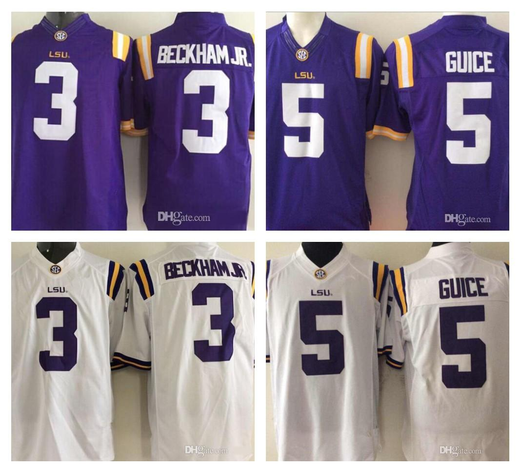 best loved 996fa 9dde6 Mens NCAA LSU Tigers 3 Odell Beckham Jr. 5 Derrius Guice Limited Jersey  Purple White Sec College Football Stitched Size S-3XL
