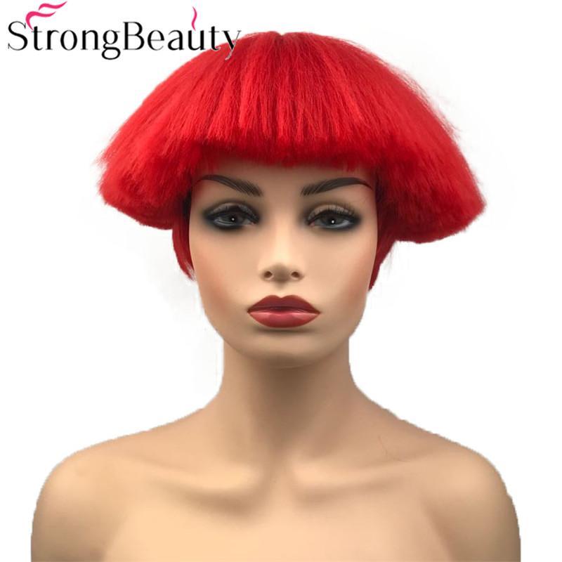 Short Yaki Straight Synthetic Wigs Red White Blonde Black Mushroom Head Wig  Heat Resistant Hair Short Straight Red Wigs Blonde Wigs Short Straight  Black ... 55f582c89249