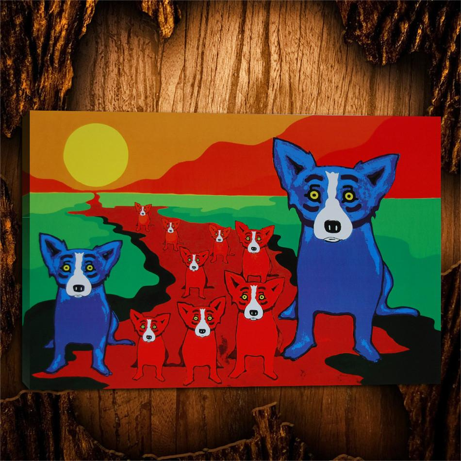 Blue Dogs on The Red River,1 Pieces Canvas Prints Wall Art Oil Painting Home Decor (Unframed/Framed) 24X36.