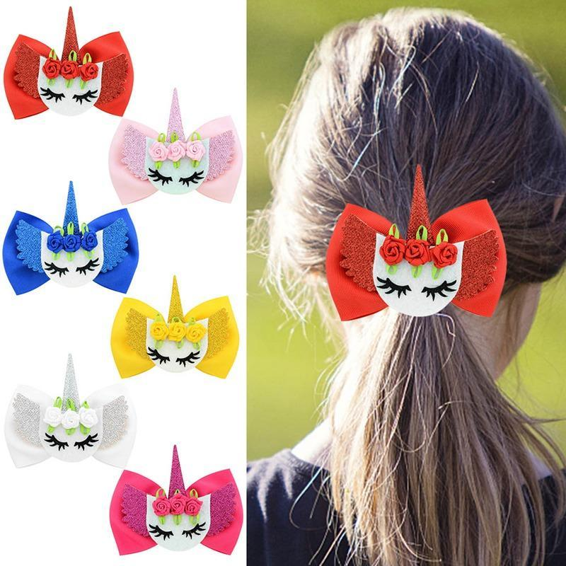 Bowknot Hair Clip Angel Wing Barrettes Hair Bows Children Hair Accessories Floral Headwear Polyester Rose Unicorn Hairpin MMA1399