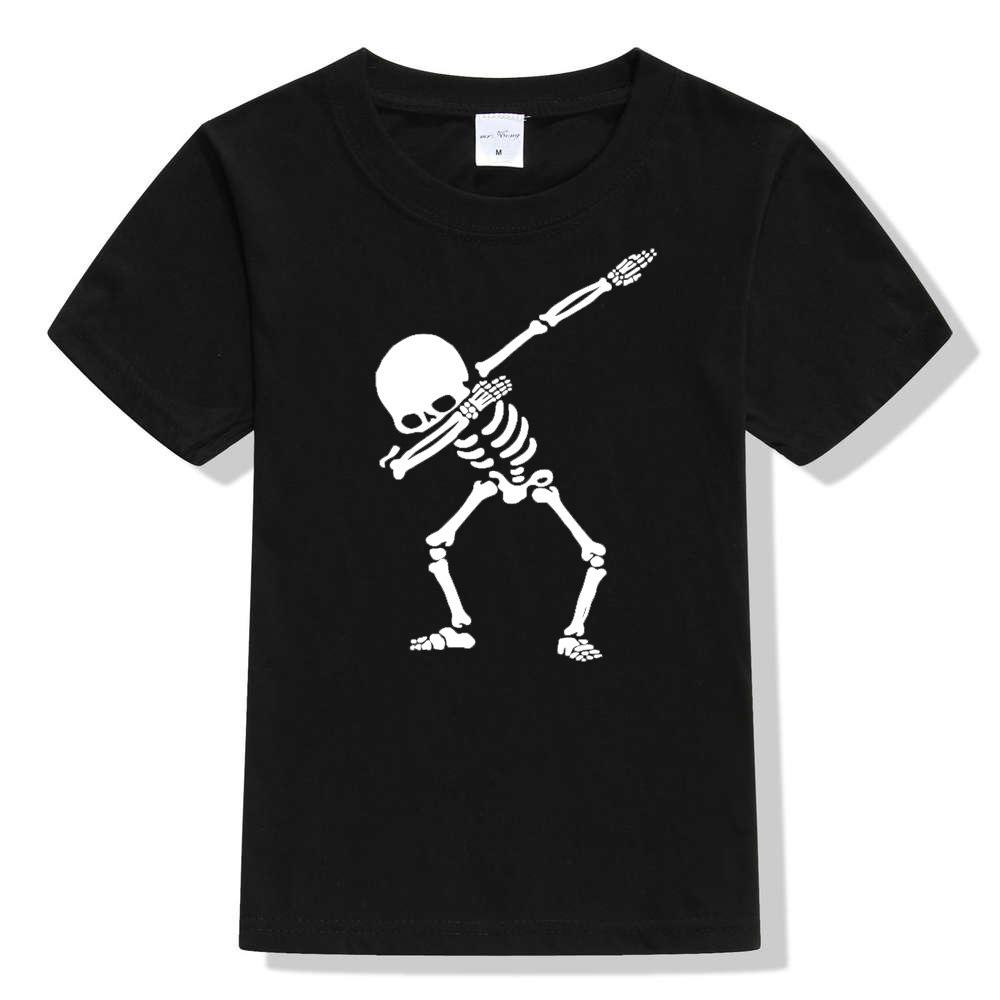 Design T-shirt-2019 the new Dab dancing posture skeleton skull print T-shirt for children short sleeve T-shirt for men and women