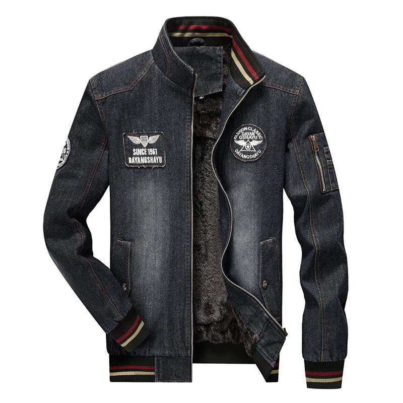 Nianjeep 2017 Winter Denim Jacket Men Warm Thicken Fleece Smart