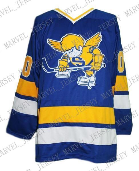Custom Minnesota Fighting Saints Retro Hockey Jersey New Blue Personalized stitch any number any name Mens Hockey Jersey XS-5XL