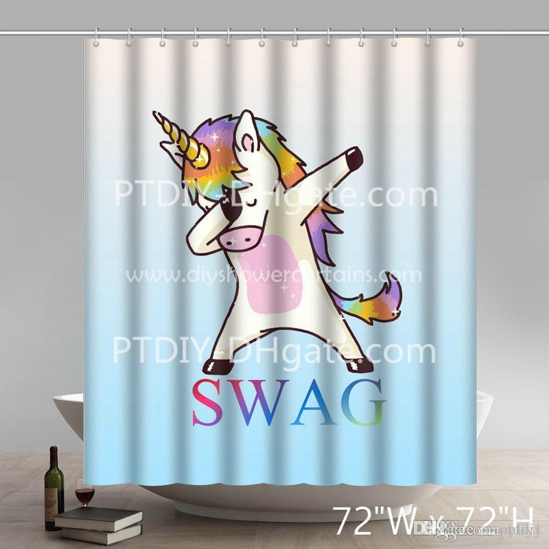 2019 Nice World Market Bathroom Set Swag Unicorn And Swimming Snoopy Peanuts Funny Print Polyester Fabric Shower Curtain From Ptdiy1