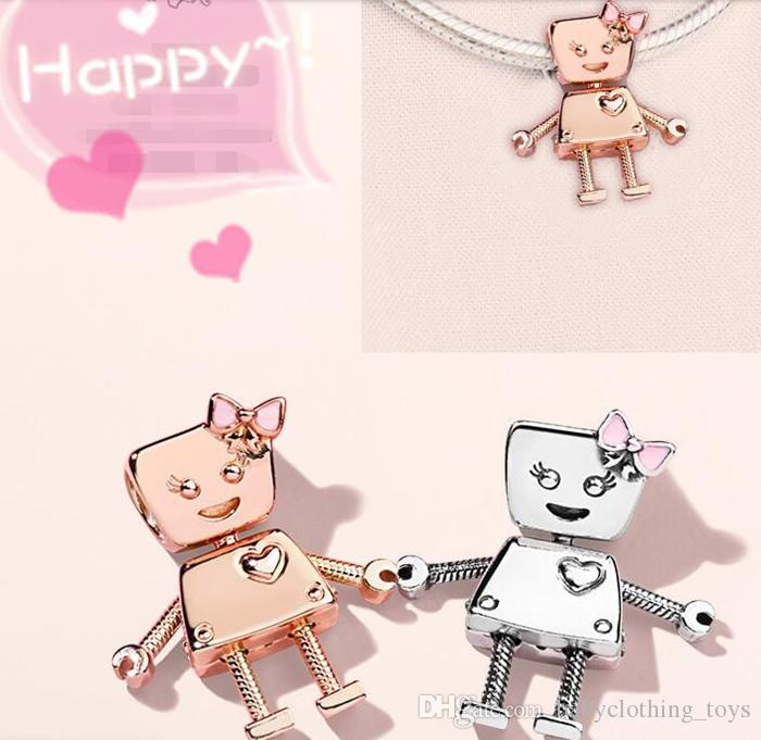28fff4b6a 2019 Authentic Bella Bot S925 Sterling Silver Bead Dangle Charms Fit For  Pandora Bracelet DIY Bead Charm With Pink Enamel From Babyclothing_toys, ...