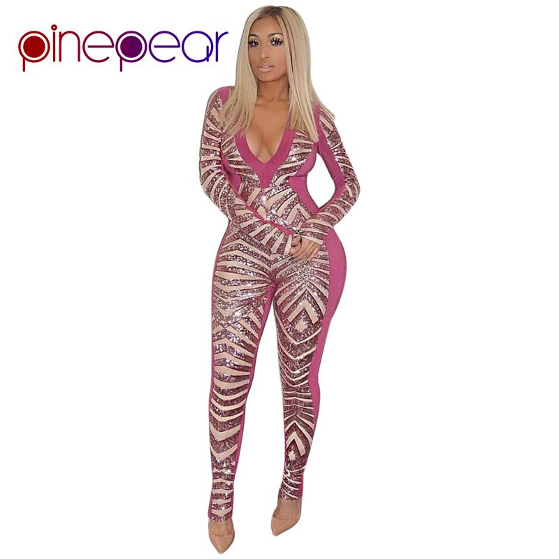 db37720f3191 2019 PinePear 2019 NEW Winter Pink Glitter Sequin Jumpsuit Women Luxury Sexy  Club Long Sleeve V Neck Bodycon Bodysuit Drop Shipping From Beenni