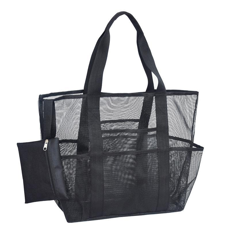 Mesh Beach Tote Bag Large Capacity For Towels Water Bottles Swimming Goggles Suit Outdoor Skin Care Products Beach Necessities