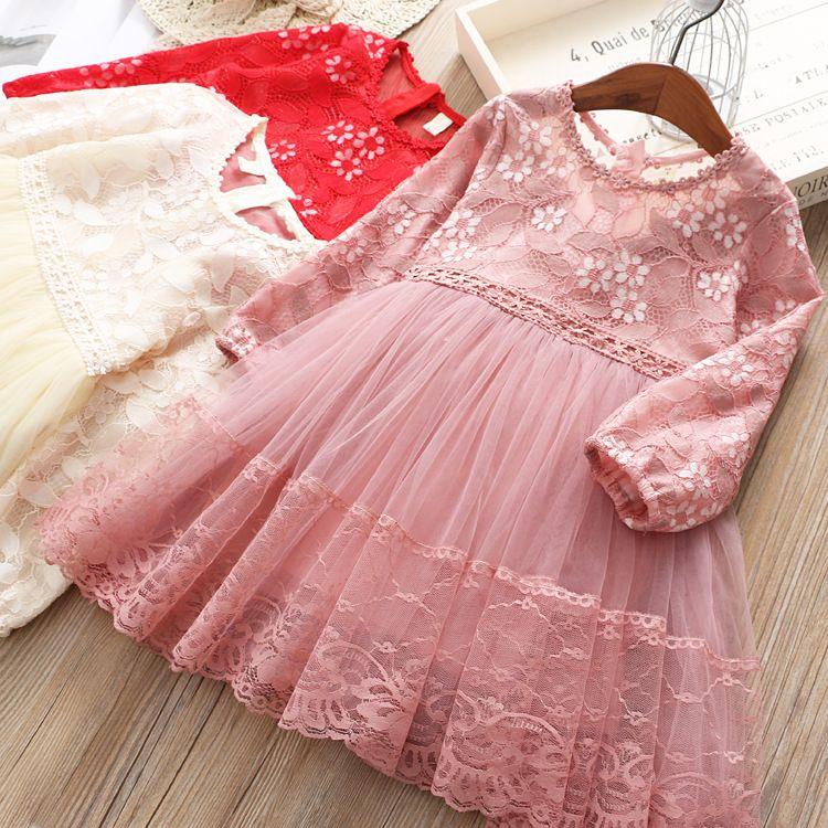 6ca2c8b12bb Lovely Kids Baby Girls Princess Party Lace Bow Flowers Tulle Western Dress  Birthday Fashion Spring Autumn Clothing Girls Stripes Dress Girls Ruffles  Dress ...