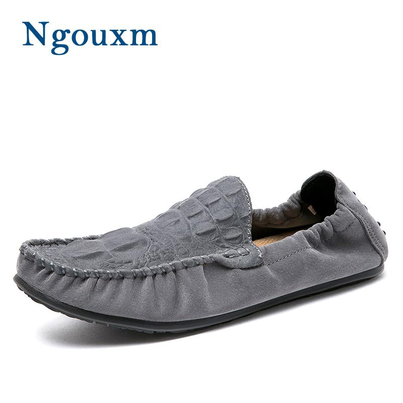 Ngouxm Loafers Men Spring Autumn Leather Moccasin Casual Shoes ... e44bcd98235e