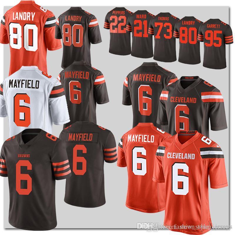 4d7b057c8 2019 6 Baker Mayfield Cleveland Brown Jersey 80 Jarvis Landry 21 Denzel  Ward 23 Joe Haden 95 Myles Garrett From New style jerseys